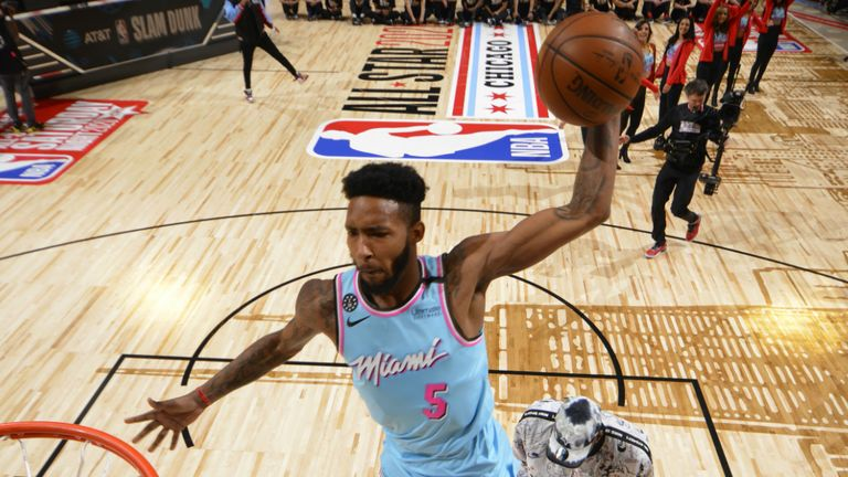 : Derrick Jones Jr. #5 of the Miami Heat participates in the 2020 NBA All-Star - AT&T Slam Dunk on February 15, 2020 at the United Center in Chicago, Illinois.