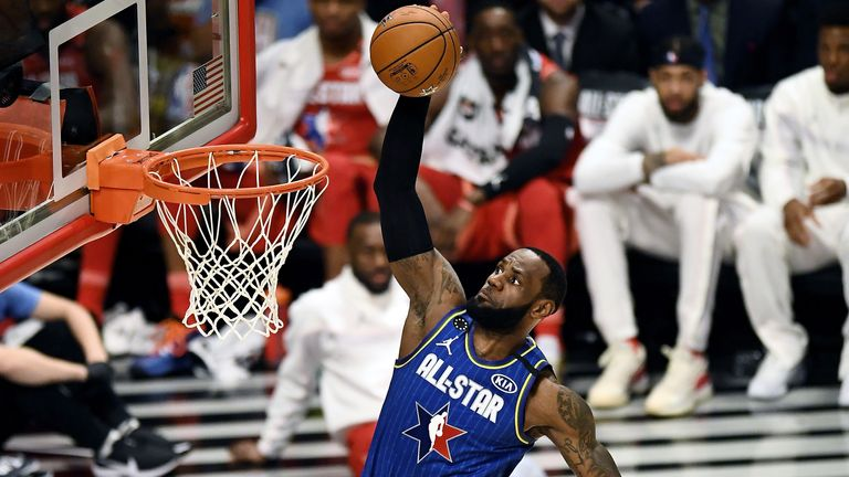 Lebron James dunks at the All-Star game
