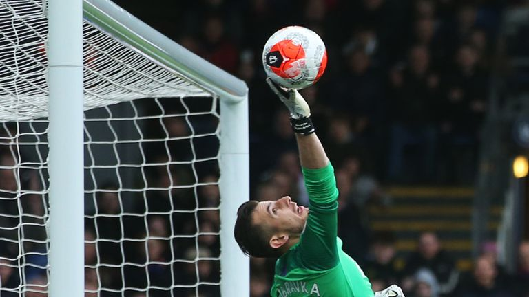 Newcastle goalkeeper Martin Dubravka makes a save against Crystal Palace