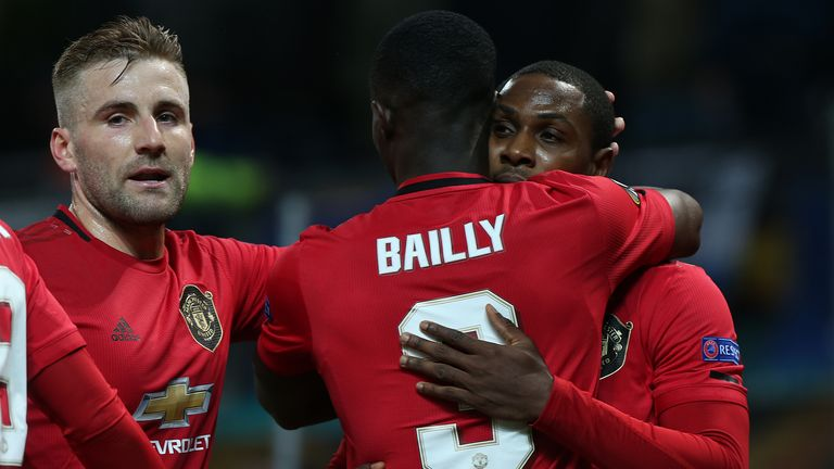 Odion Ighalo celebrates scoring for Manchester United against Club Brugge