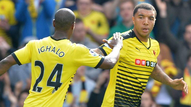 Watford's English striker Troy Deeney (R) celebrates with Watford's Nigerian striker Odion Ighalo