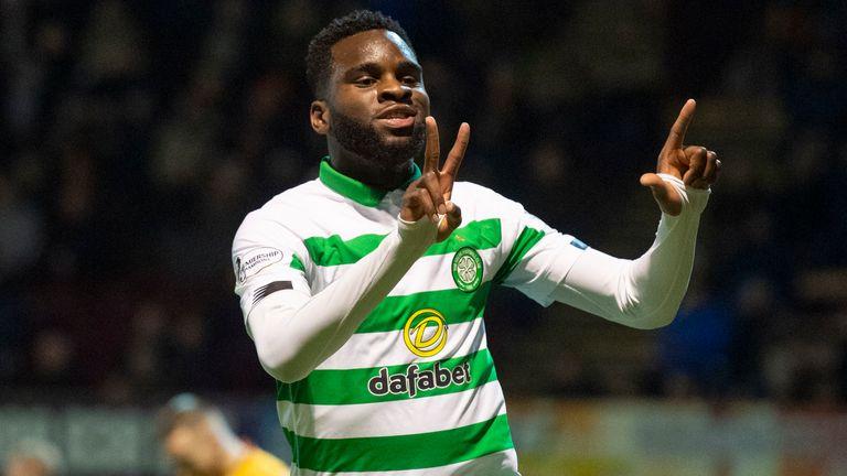 Celtic's Odsonne Edouard celebrates making it 1-0 against Motherwell