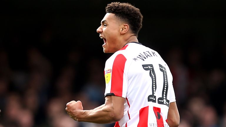 Ollie Watkins celebrates scoring Brentford's first goal