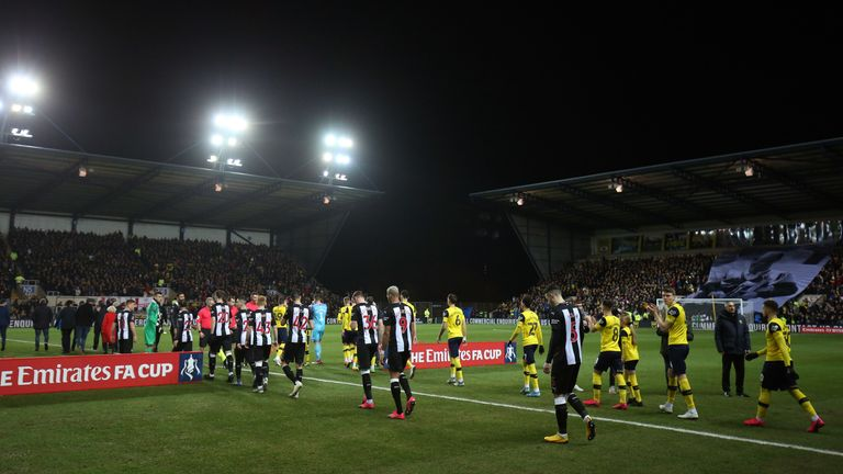 A general view of Kassam Stadium as the teams come out during the FA Cup Fourth Round Replay match between Oxford United and Newcastle United at Kassam Stadium on February 4, 2020 in Oxford, England