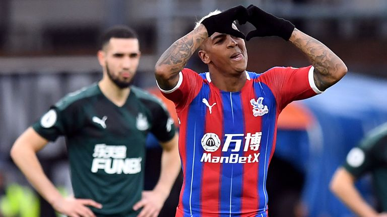 Patrick van Aanholt celebrates scoring the opening goal of the game between Crystal Palace and Newcastle