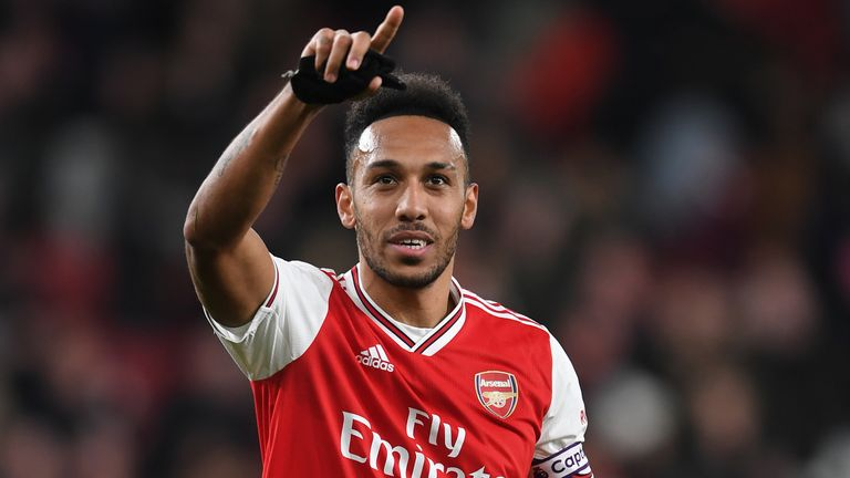 Pierre-Emerick Aubameyang celebrates following Arsenal's 3-2 win over Everton