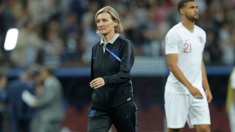 The England team psychologist Dr Pippa Grange walks onto the pitch after the final whistle during the England v Croatia FIFA World Cup 2018 semi-final at the Luzhniki Stadium, Moscow on July 11th 2018 in Russia (Photo by Tom Jenkins)