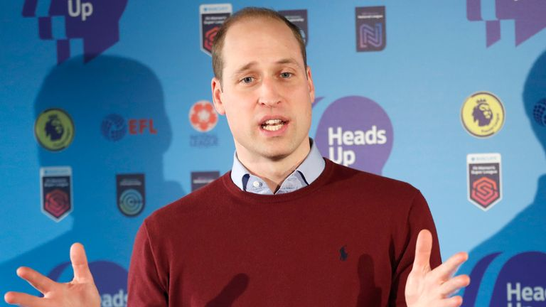 Prince William, Duke of Cambridge, delivers a speech while launching The Heads Up Weekends