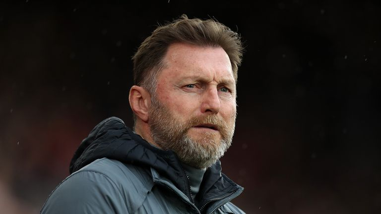 Ralph Hasenhuttl, Manager of Southampton looks on during the Premier League match between Southampton FC and Burnley FC at St Mary's Stadium on February 15, 2020 in Southampton, United Kingdom.