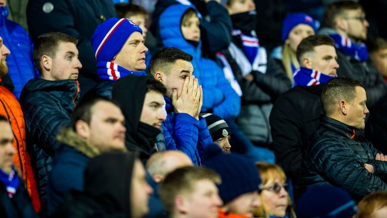 The Rangers supporters show their displeasure at the final whistle