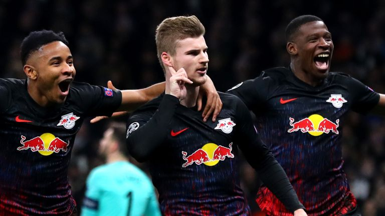 Werner celebrates scoring against Tottenham in the Champions League last week