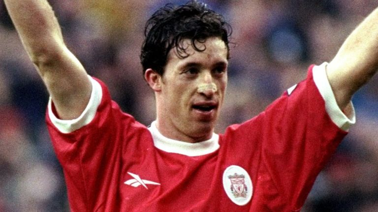 16 Jan 1999: Robbie Fowler of Liverpool celebrates a goal during the match against Southampton at Anfield