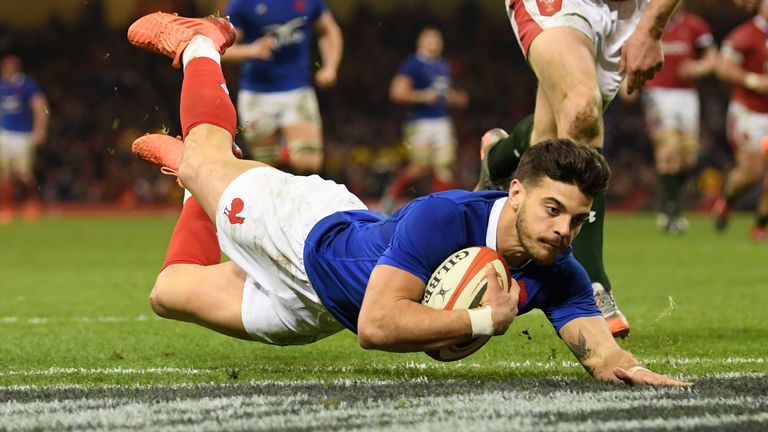 Ntamack raced over for France's third try in Cardiff after intercepting a pass