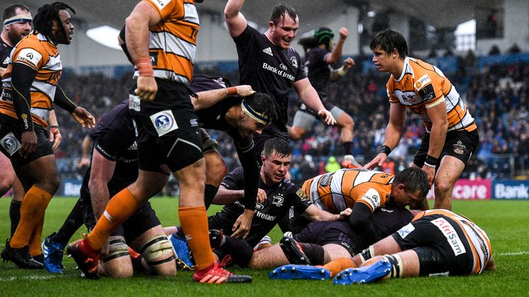 Ronan Kelleher scores a try in the PRO14 game between Leinster and Toyota Cheetahs