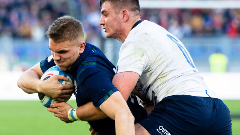 Chris Harris scored Scotland's second try against Italy