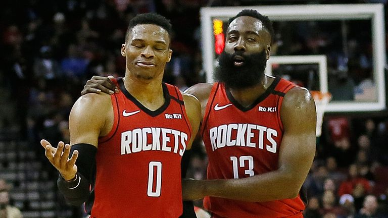 Russell Westbrook is congratulated by team-mate James Harden during the Rockets' win over the Grizzlies