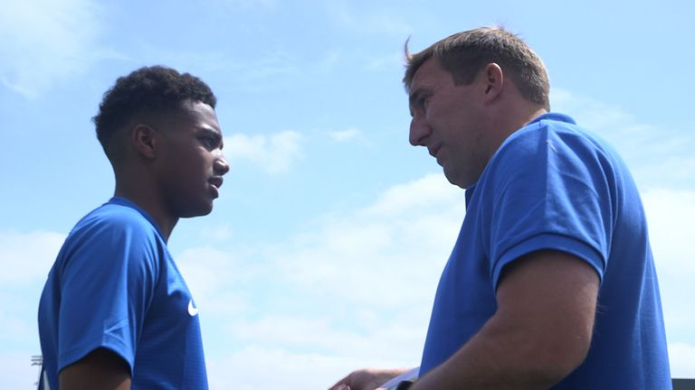 Sam McCallum speaks with Alan Stubbs while attending the V9 Academy in 2018