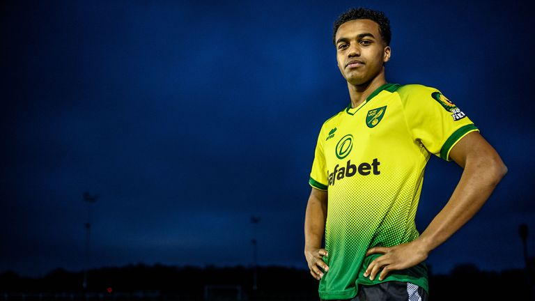 Sam McCallum pictured signing for Norwich City in January