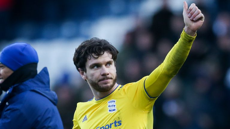 Scott Hogan of Birmingham City gives a thumbs up to the traveling supporters