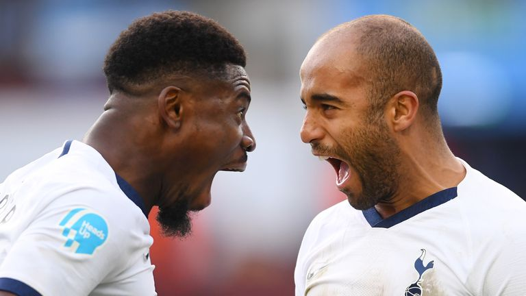 Serge Aurier and Lucas Moura celebrate during Tottenham's 3-2 win over Aston Villa