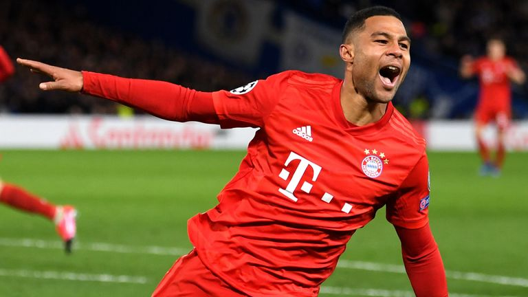 Serge Gnabry celebrates scoring against Chelsea
