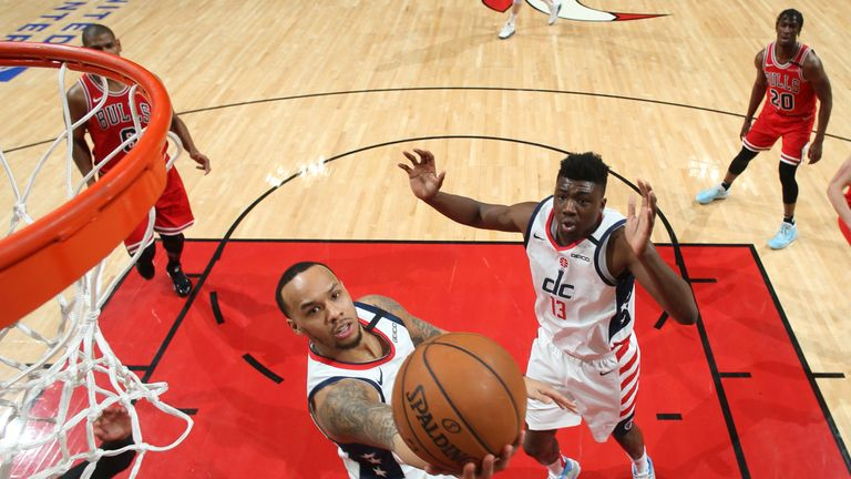 Shabazz Napier of the Washington Wizards shoots the ball against the Chicago Bulls
