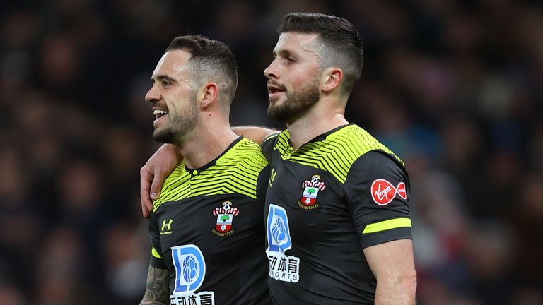 Shane Long celebrates with Southampton team-mate Danny Ings after scoring