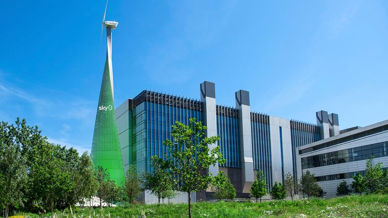 Sky's Osterley campus, which uses wind turbines to generate electricity