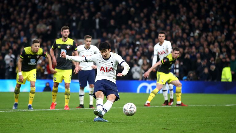 Heung-Min Son strikes home the winning penalty against Southampton