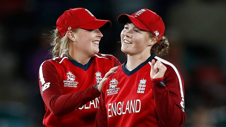 Anya Shrubsole (R) became the leading wicket-taker in Women's T20 World Cup history with her three strikes