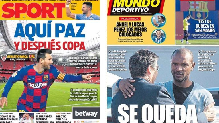 'Here, peace, and after Copa' is the headline in Sport while Mundo Deportivo leads with 'He stays' referring to Eric Abidal