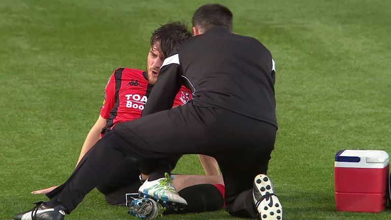 Philip receiving treatment last season following a tackle from brother Stephen