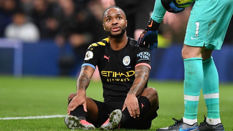 Raheem Sterling suffered the injury during Man City's defeat at Tottenham