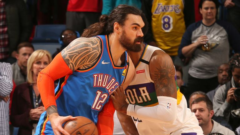 Steven Adams in action for Oklahoma City in Boston