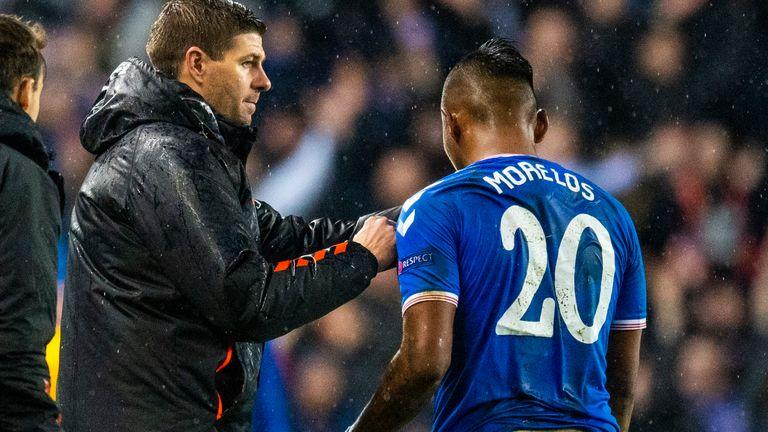 Rangers manager Steven Gerrard and Alfredo Morelos
