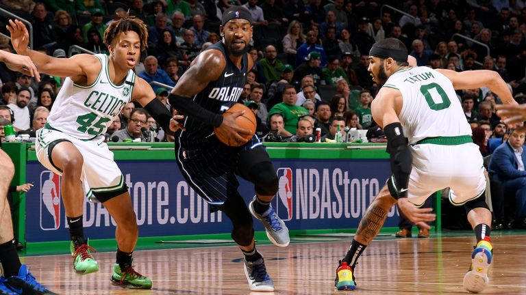 Terrence Ross of the Orlando Magic drives to the basket during the game against the Boston Celtics