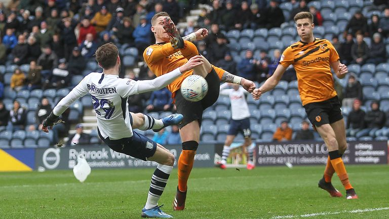 Tom Barkuizen gets a shot on goal during the Sky Bet Championship match between Preston North End and Hull City at Deepdale