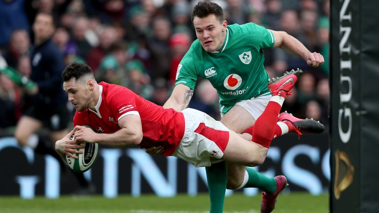 Tomos Williams dives over for Wales' first try against Ireland
