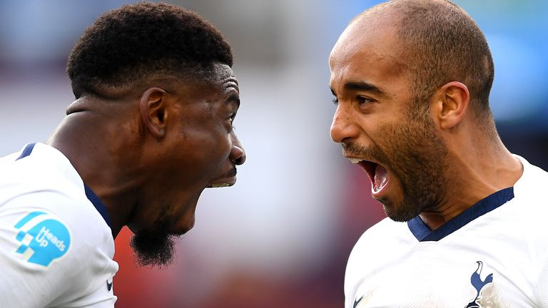 Serge Aurier and Lucas Moura celebrate Spurs' late win at Villa Park