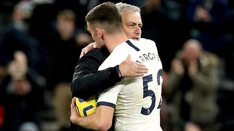 Jose Mourinho embraces Troy Parrott after handing him the match ball following Tottenham's 5-0 win over Burnley
