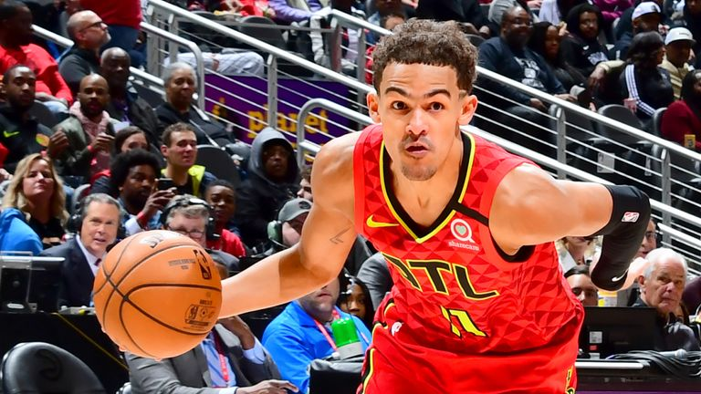Trae Young of the Atlanta Hawks handles the ball against the Brooklyn Nets