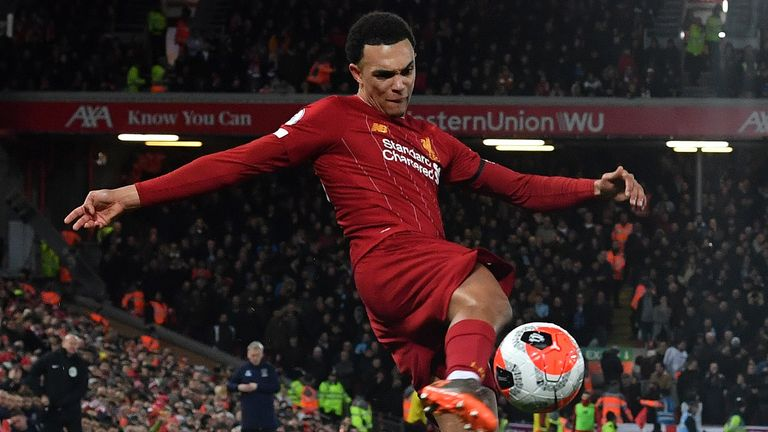 Trent Alexander-Arnold crosses the ball in Liverpool's win over West Ham.