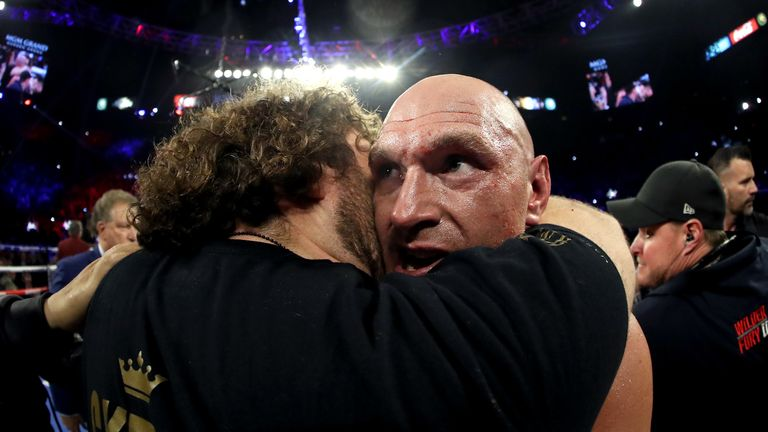 Tyson Fury hugged by brother Shane