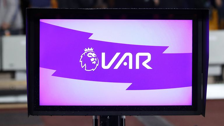 A view of the VAR system pitch side during the Premier League match at Molineux, Wolverhampton.