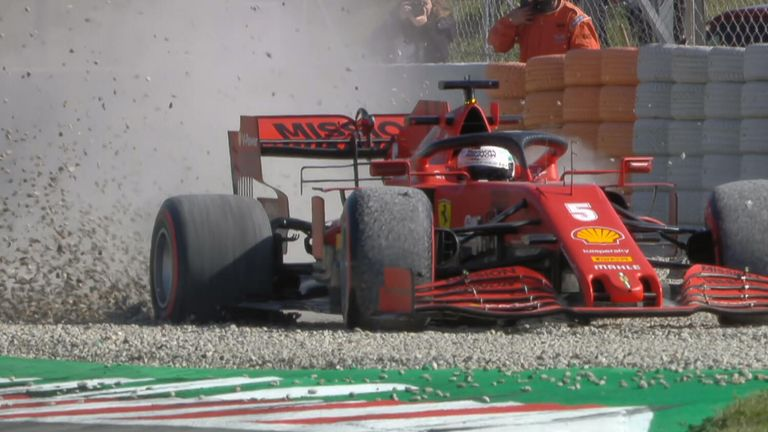 Sebastian Vettel managed to extract his Ferrari from the gravel during testing in Barcelona after going for spin on day two.