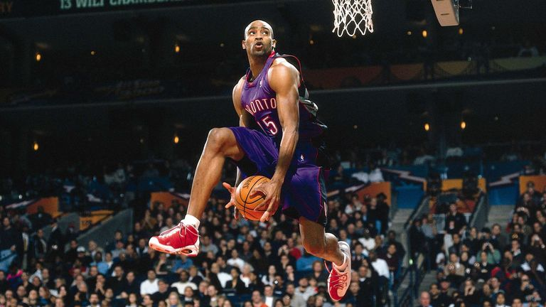 Vince Carter of the Toronto Raptors goes for a dunk during the 2000 NBA All Star Slam Dunk Contest