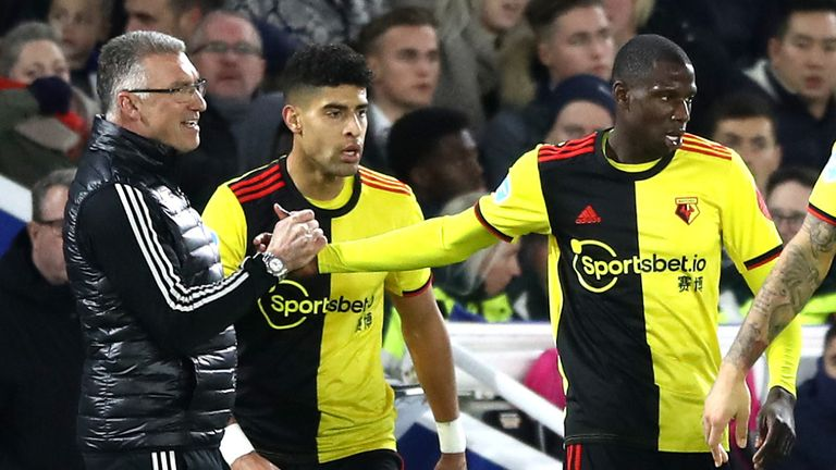 Abdoulaye Doucoure celebrated his goal with manager Nigel Pearson