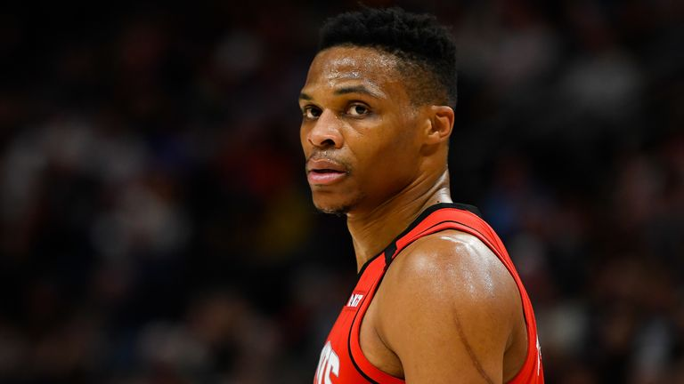 Russell Westbrook of the Houston Rockets looks on during a game against the Utah Jazz