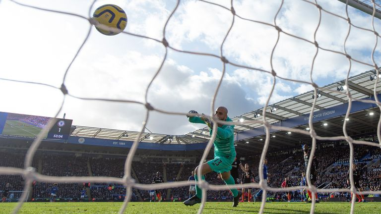 LEICESTER, ENGLAND - FEBRUARY 01: Harvey Barnes of Leicester City beats Chelsea goalkeeper Willy Caballero to score the first Leicester goal during the Premier League match between Leicester City and Chelsea FC at The King Power Stadium on February 01, 2020 in Leicester, United Kingdom. (Photo by Visionhaus)