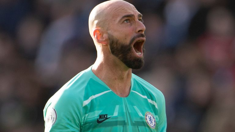 LEICESTER, ENGLAND - FEBRUARY 01: Willy Caballero of Chelsea during the Premier League match between Leicester City and Chelsea FC at The King Power Stadium on February 01, 2020 in Leicester, United Kingdom. (Photo by Visionhaus)